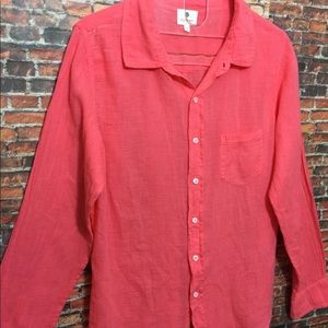 Anthropologie Tops - Sundry coral button down shirt top blouse sz 1